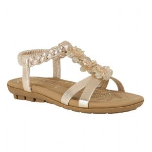 Lotus Womens Margarita Gold Flat Open Toe Sandals